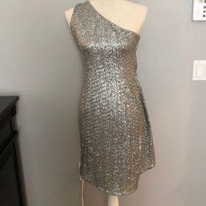 Worn once!! Sequined one shoulder designer dress